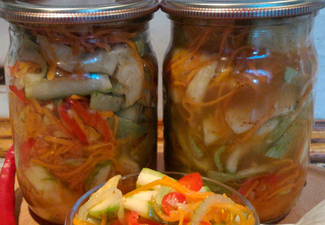 Как приготовить салат из кабачков по-корейски на зиму